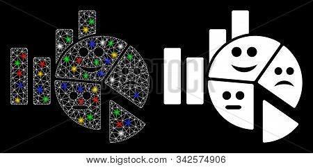 Bright mesh emotion charts icon with glitter effect. Abstract illuminated model of emotion charts. Shiny wire frame triangular mesh emotion charts icon. Vector abstraction on a black background. stock photo