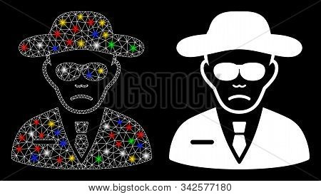 Glossy mesh security agent icon with lightspot effect. Abstract illuminated model of security agent. Shiny wire frame polygonal mesh security agent icon. Vector abstraction on a black background. stock photo
