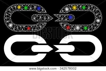 Glossy mesh chain break icon with glare effect. Abstract illuminated model of chain break. Shiny wire frame triangular network chain break icon. Vector abstraction on a black background. stock photo