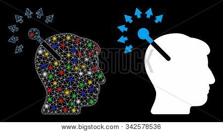 Glowing mesh optical neural interface icon with lightspot effect. Abstract illuminated model of optical neural interface. Shiny wire frame triangular network optical neural interface icon. stock photo