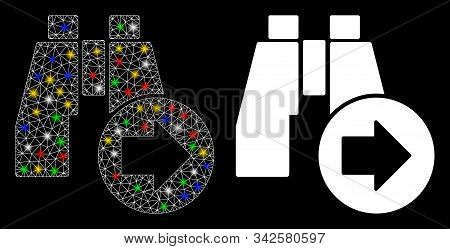 Glossy mesh find next binoculars icon with sparkle effect. Abstract illuminated model of find next binoculars. Shiny wire carcass triangular mesh find next binoculars icon. stock photo