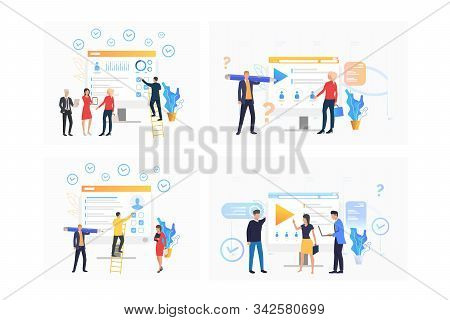 Recruitment agency set. Agents analyzing candidates resume, selecting employees for job. Flat vector illustrations. Business, career concept for banner, website design or landing web page stock photo