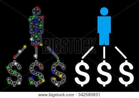 Flare mesh person expenses icon with glare effect. Abstract illuminated model of person expenses. Shiny wire frame triangular network person expenses icon. Vector abstraction on a black background. stock photo