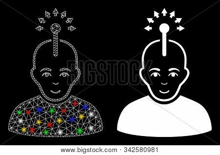 Bright mesh optical neural interface icon with glow effect. Abstract illuminated model of optical neural interface. Shiny wire carcass triangular mesh optical neural interface icon. stock photo