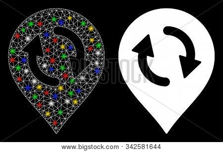 Glossy mesh refresh map marker icon with glow effect. Abstract illuminated model of refresh map marker. Shiny wire frame polygonal mesh refresh map marker icon. stock photo