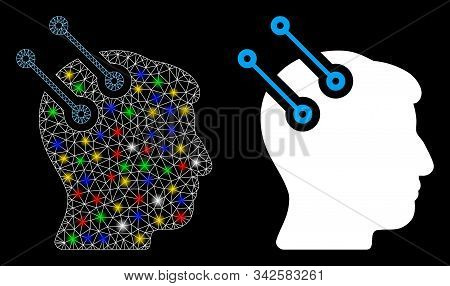 Glossy mesh neural interface connectors icon with glare effect. Abstract illuminated model of neural interface connectors. Shiny wire carcass triangular mesh neural interface connectors icon. stock photo