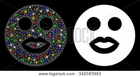 Glossy mesh lady smiley icon with glare effect. Abstract illuminated model of lady smiley. Shiny wire frame triangular mesh lady smiley icon. Vector abstraction on a black background. stock photo
