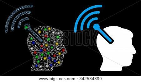 Flare mesh radio neural interface icon with glow effect. Abstract illuminated model of radio neural interface. Shiny wire frame triangular mesh radio neural interface icon. stock photo