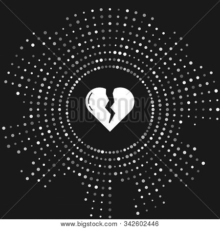 White Broken heart or divorce icon isolated on grey background. Love symbol. Valentines day. Abstract circle random dots. Vector Illustration stock photo