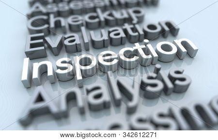 Inspection Assessment Evaluation Exam Test Words 3d Illustration stock photo