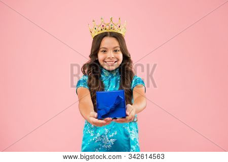 International beauty contest. Kid wear golden crown symbol of glory. Beauty pageant. Focus on beauty. Little princess. Girl wear crown. Princess manners. Award concept. Winner of beauty competition. stock photo