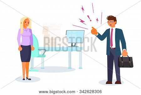 Bad luck and stressful situations. Female character experiences stress in everyday life. Angry boss and frightened employee. Bullying and harrassment at office concept. Flat Art Vector Illustration stock photo
