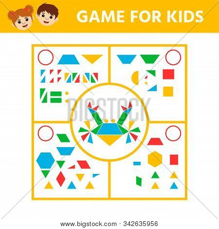 Education logic game for preschool kids. Connect the details and animals of geometric shapes. Preschool worksheet activity. Children funny riddle entertainment. Vector illustration stock photo