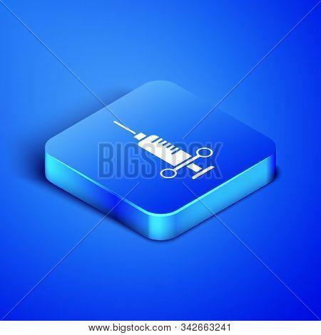 Isometric Dental medical syringe with needle icon isolated on blue background. Blue square button. Vector Illustration stock photo