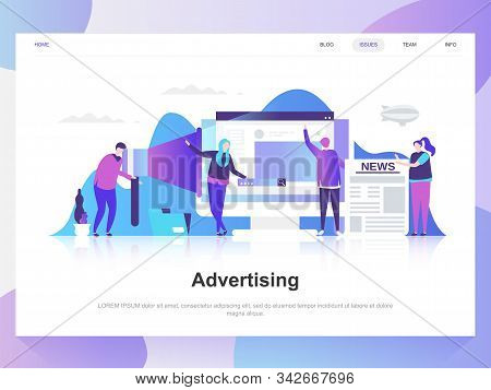 Advertising and promo modern flat design concept. Landing page template. stock photo