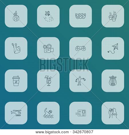 Hobby icons line style set with shopping, cocktail, travelling and other swimmer elements. Isolated vector illustration hobby icons. stock photo