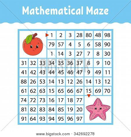 Fruit apple, sea starfish. Mathematical square maze. Game for kids. Number labyrinth. Education worksheet. Activity page. Puzzle for children. Cartoon characters. Color vector illustration. stock photo
