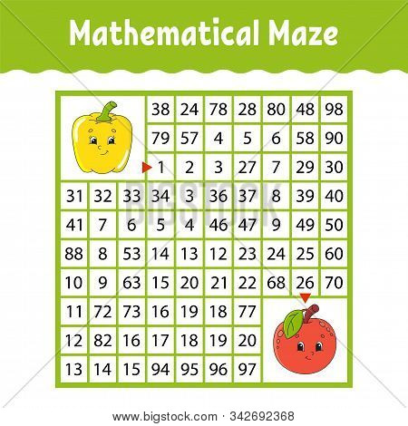 Vegetable pepper, fruit apple. Mathematical square maze. Game for kids. Number labyrinth. Education worksheet. Activity page. Puzzle for children. Cartoon characters. Color vector illustration. stock photo
