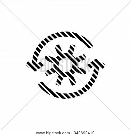 Stripped Gear with reprocessing sign line icon. Update, cycle, arrow made of lines. Stock vector illustration isolated on white background. stock photo