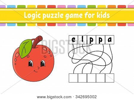 Logic puzzle game. Learning words for kids. Cute Apple. Find the hidden name. Worksheet, Activity page. English game. Isolated vector illustration. Cartoon character. stock photo