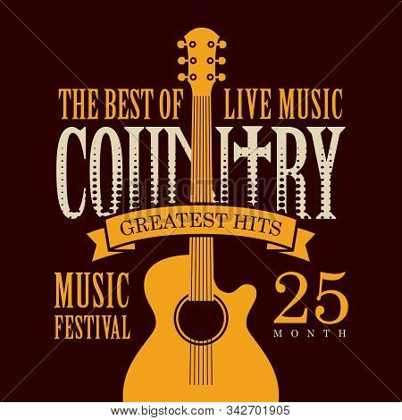 Vector poster for festival of live country music with yellow electric guitar on the black background in retro style stock photo