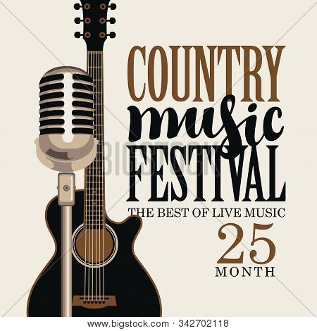 Vector poster for festival of live country music with electric guitar and microphone on a light background in retro style stock photo