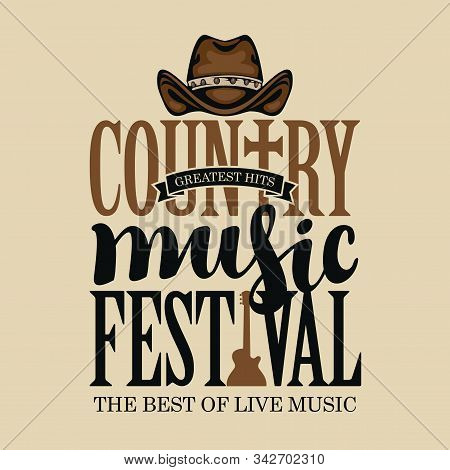 Vector poster for festival of country music on a light background in retro style. Creative lettering for t-shirt design with cowboy hat and electric guitar stock photo