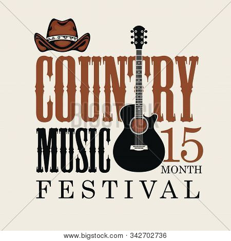 Vector poster for country music festival with brown cowboy hat and electric guitar, on a light background in retro style. Suitable for for emblem, t-shirt design, flyer, invitation, cover stock photo