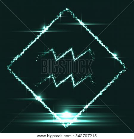 Astrological symbol of Aquarius. Abstract vector shiny western Zodiac Horoscope sign in glowing rhomb border frame on dark teal blue background. stock photo