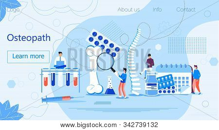 Osteopath practice. Osteoporosis concept, osteoarthritis anatomical vector. Tiny doctors research bones of human. Joint pain, fragility of lower leg are shown. It is for landing page stock photo