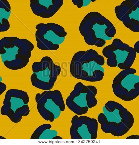 Light Animal Puma Leather Vector Seamless Pattern. Black Wool Wild Cheetah Style. Ink Tropical Pattern. Art Drawn Animal Swimwear Style. stock photo