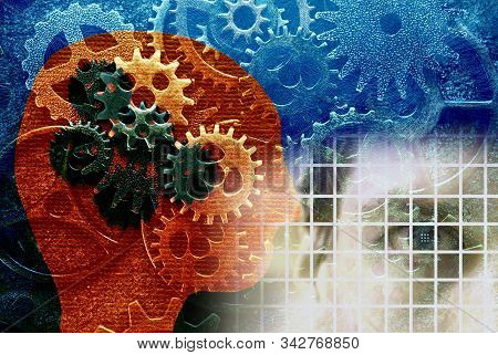 Human face with robot head over gears background -- AI or machine learning artificial intellience concept stock photo