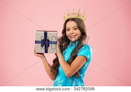 Winner of beauty competition. International beauty contest. Kid wear golden crown symbol of glory. Beauty pageant. Focus on beauty. Little princess. Girl wear crown. Princess manners. Award concept. stock photo