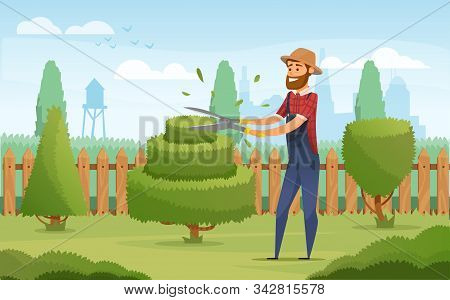 Gardener working in garden cartoon icon. Landscape designer in blue overalls pruning or trimming green tree and shrub with shears for gardening and landscape design profession design stock photo