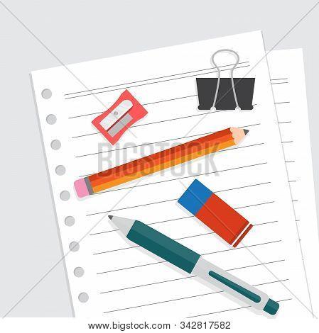Stationery illustration flat, blank sheet of paper binding and ballpoint, pencil, sharpener, paper clip, and eraser, flat design vector illustration stock photo