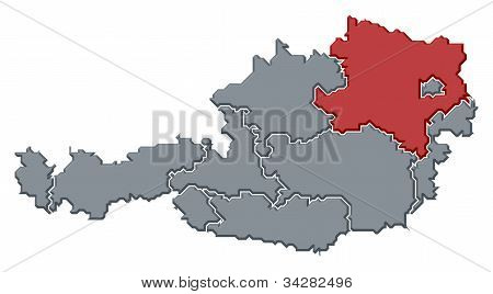 Political map of Austria with the several states where Lower Austria is highlighted. stock photo