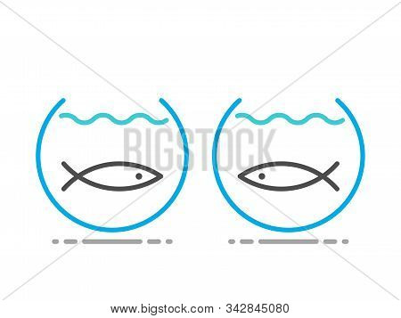 Two fishes separated in fishbowls. Obstacle, separation, communication, relationship, yearning and intimacy concept. Line art Flat design. EPS 8 vector illustration, no transparency, no gradients stock photo