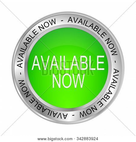 glossy green Available now Button - 3D illustration stock photo