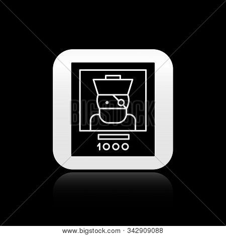 Black Wanted poster pirate icon isolated on black background. Reward money. Dead or alive crime outlaw. Silver square button. Vector Illustration stock photo