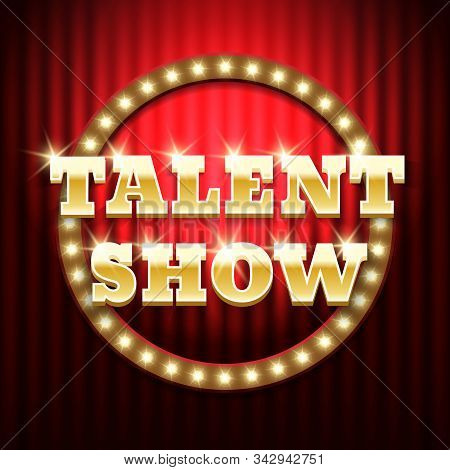 Talent show banner, poster, gold inscription on red curtain. Advertising or invitation, event. Vector illustration stock photo