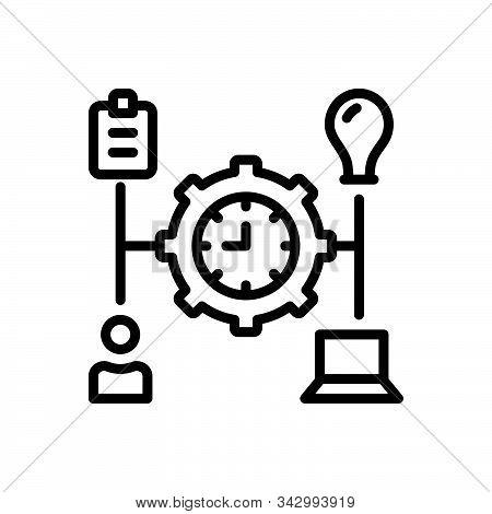 Black line icon for manage transact operate organize organise stock photo