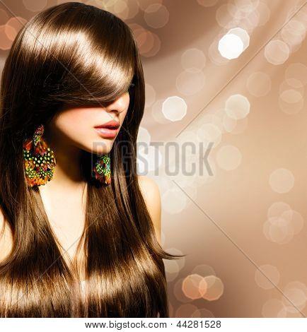 Hair Beautiful Brunette Girl Healthy Long Brown Hair Beauty