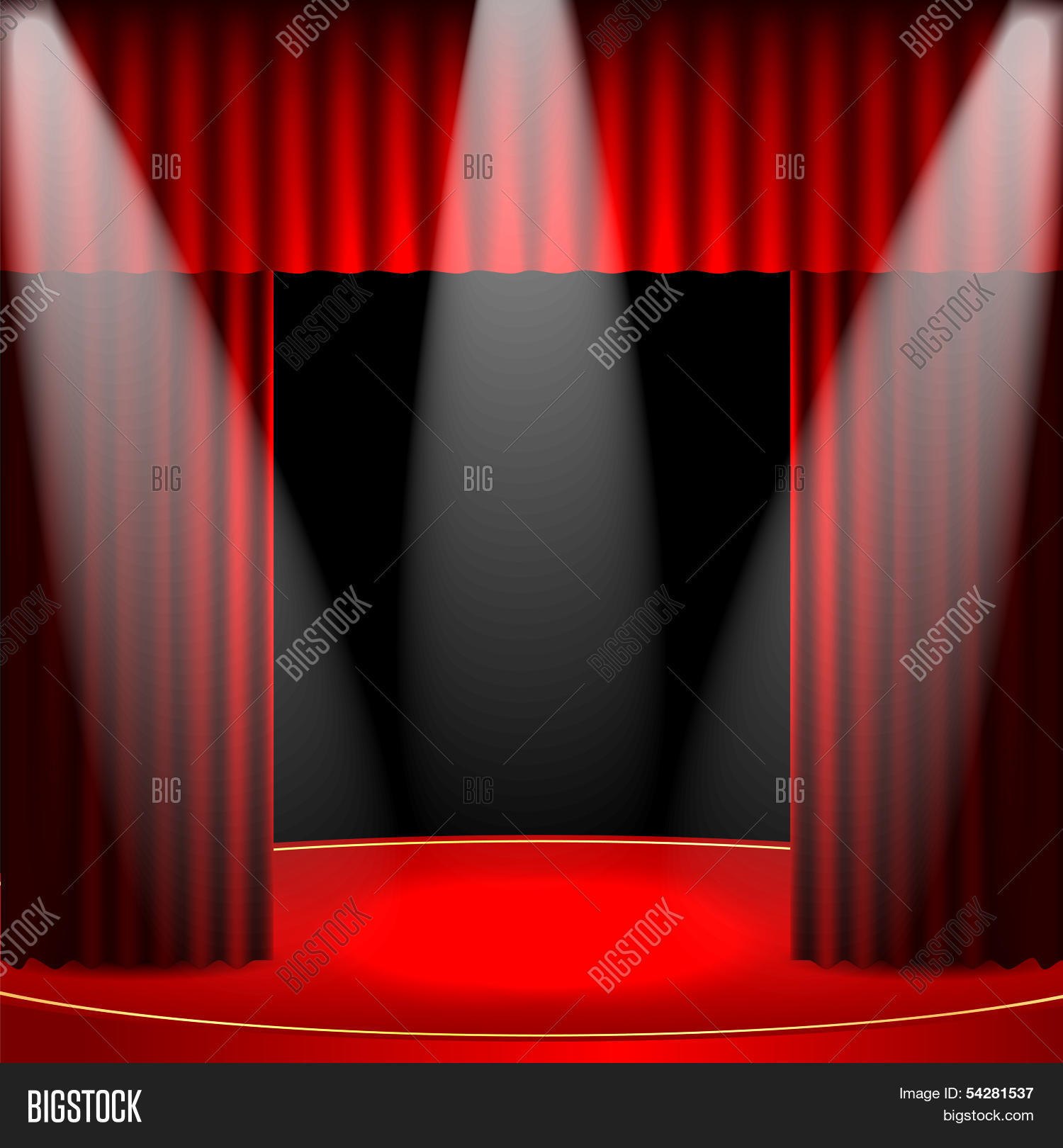 Theatrical Background Scene And Red Curtains Interior For The Theater Cinema Illuminated F Image Stock Photo 54281537