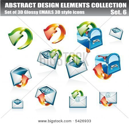 3D and 2D Email Design Elements Collection - Set 6 stock photo