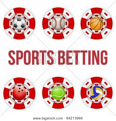 Square tote symbol red casino chips of sports betting with soccer ball. Bright bookmaker icon of gambling excitement. Vector Illustration. stock photo