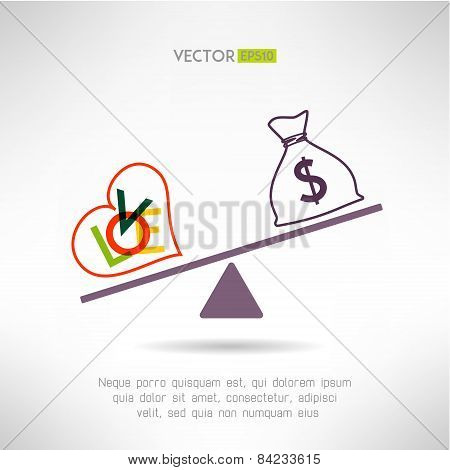 Love beart sign and money bag on scales. Choosing life style concept. Vector illustration stock photo
