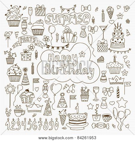 Hand Drawn Birthday Elements. Set Of Vector Birthday Party Elements
