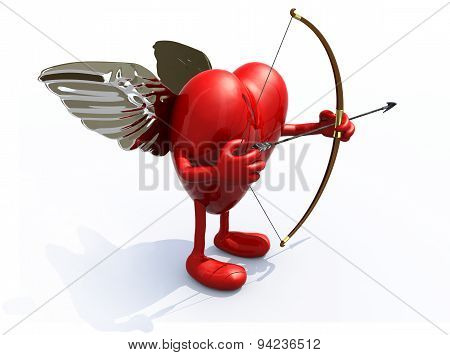 heart with arms legs wings bow and arrow 3d illiustration stock photo