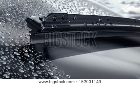 Car windshield with rain drops and frameless wiper blade closeup. 3d render stock photo