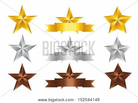 Vector illustration; Set of Stars. Gold Star Silver Star and copper Star isolated on white Background.